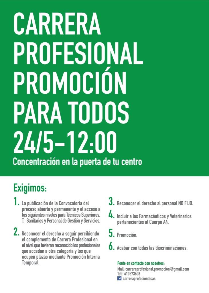 NUEVAS CONCENTRACIONES POR LA CARRERA PROFESIONAL PARA TODOS Cartelconcentracic3b3n24-05-18-001