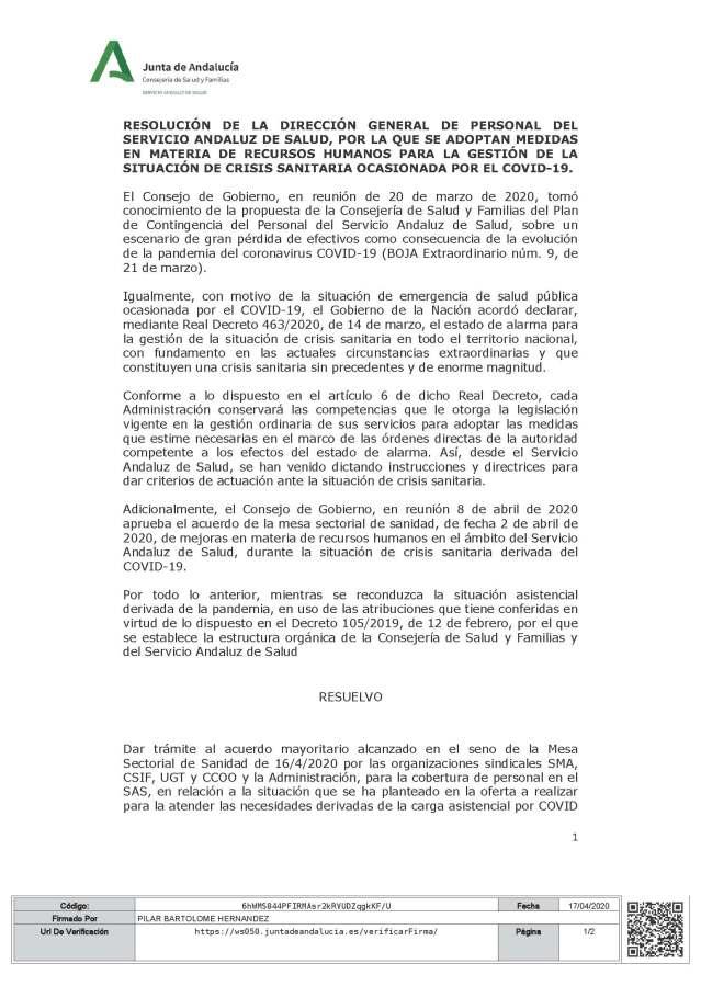 Resolución DGP sobre acuerdo prorroga de nombramientos personal estaturario de MS de Sanidad_firm (1)_Página_1